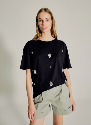 NGSTYLE Taş İşlemeli Tshirt Siyah